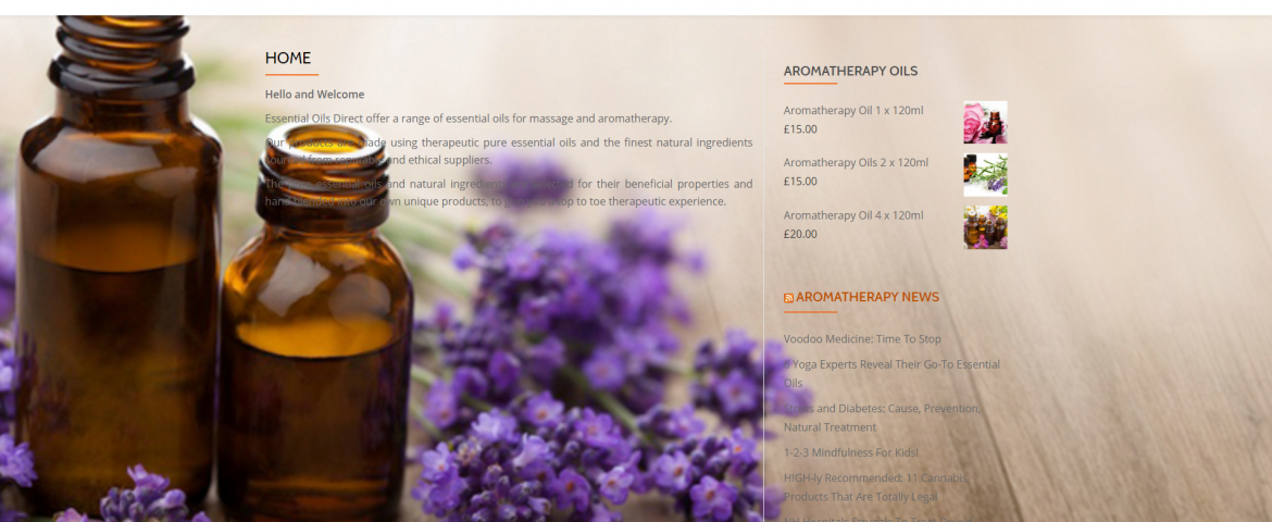 wordpress website for essential oils direct